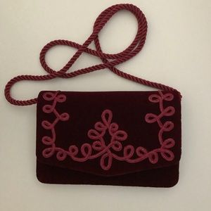 Lord & Taylor Burgundy Velvet Bag